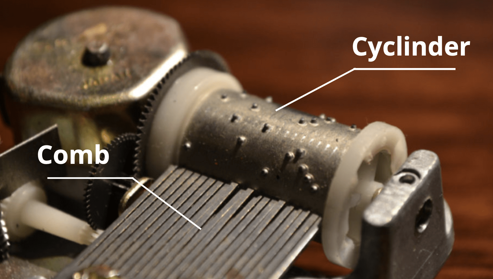 the close shot of a traditional music box cylinder and its comb