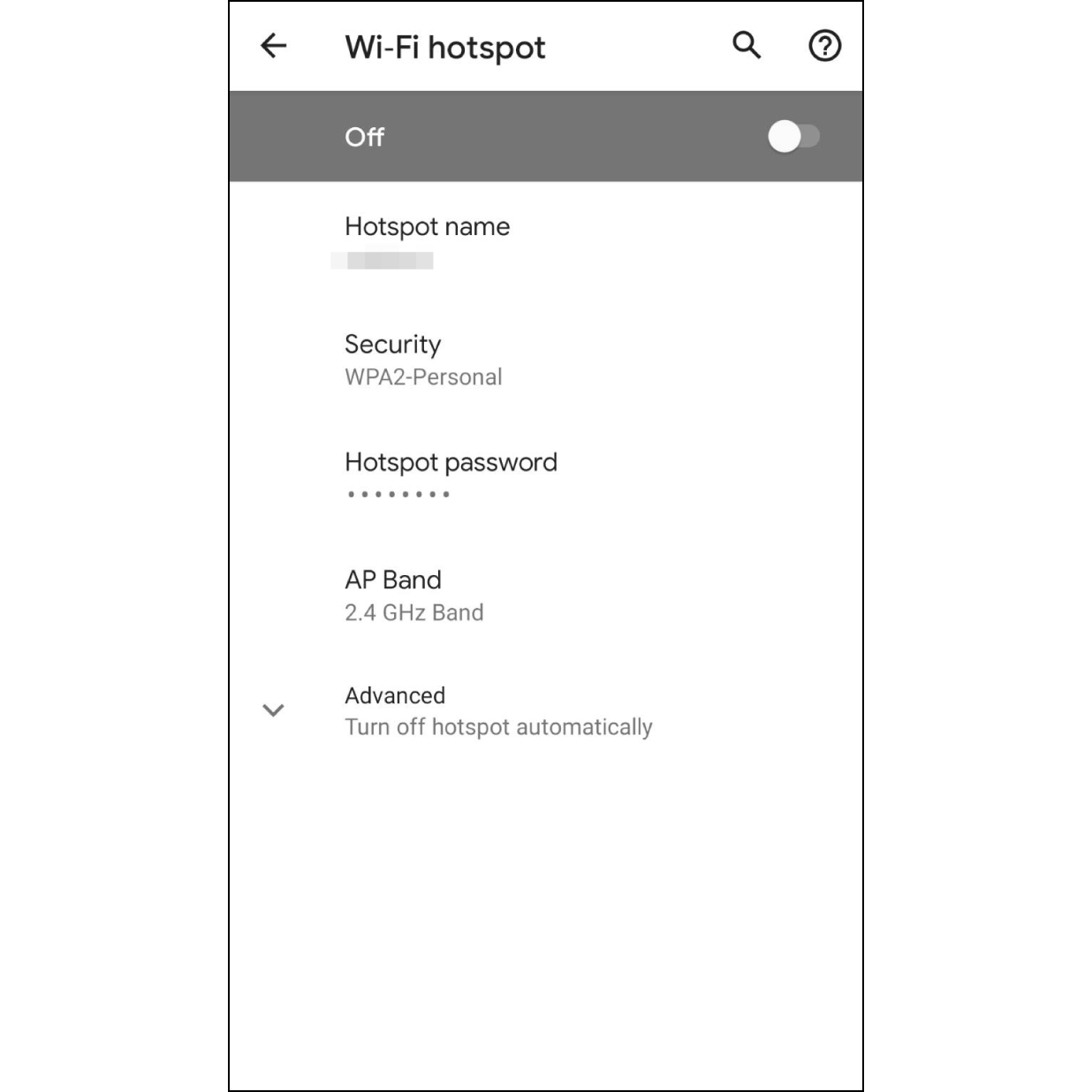 1. Set up Android HotspotGo to settings and set up Android hotspot name and password, then turn off the hotspot for now.(How to set up Android Hotspot)