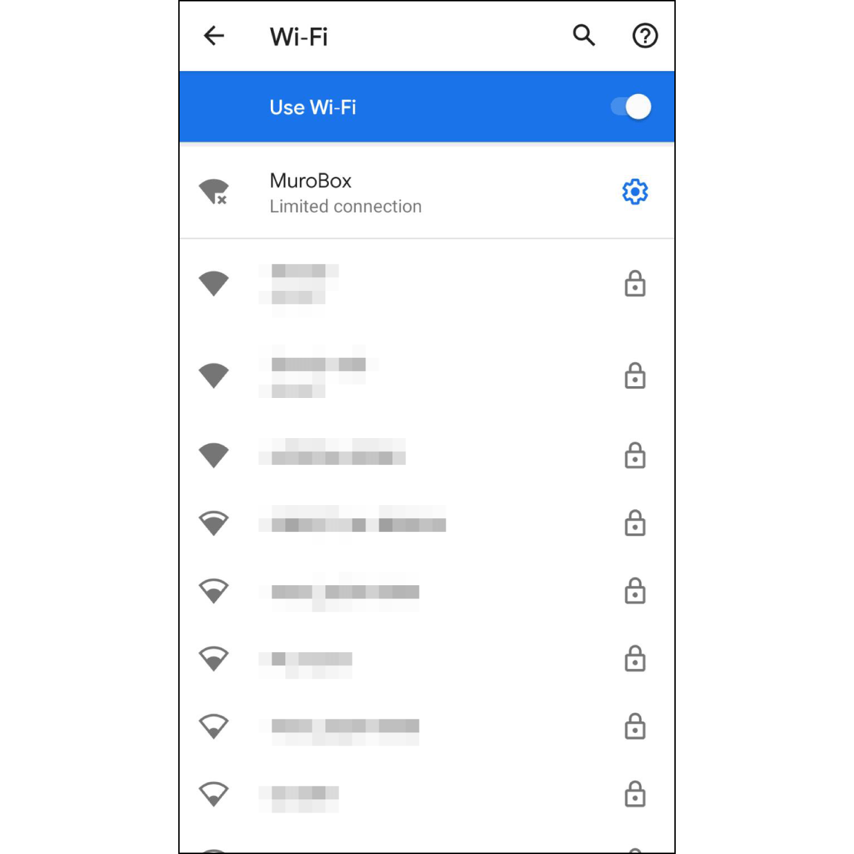 """5. Connect to Muro Box Wi-FiThe newer version of Android phone will automatically connect to Muro Box Wi-Fi.  Older versions of Android phones will need to manually go to """"Wi-Fi settings"""", then select """"MuroBox"""" Wi-Fi. After Wi-Fi is connected, go back to the Muro Box app."""