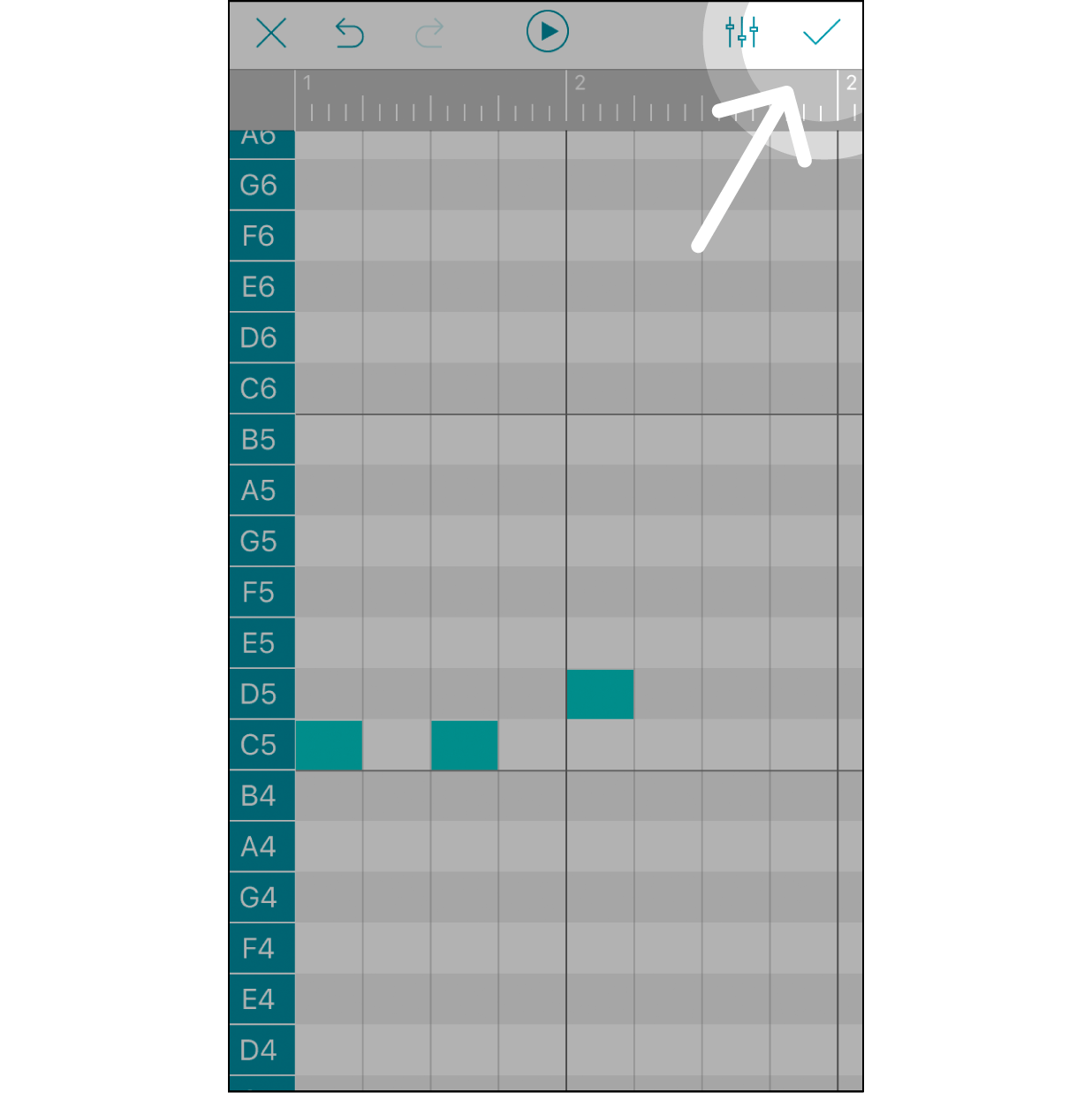 """Finish Editing and Save the MelodyAfter finishing editing the melody, click the """"✓"""" on the upper right corner to save it before leaving this step."""
