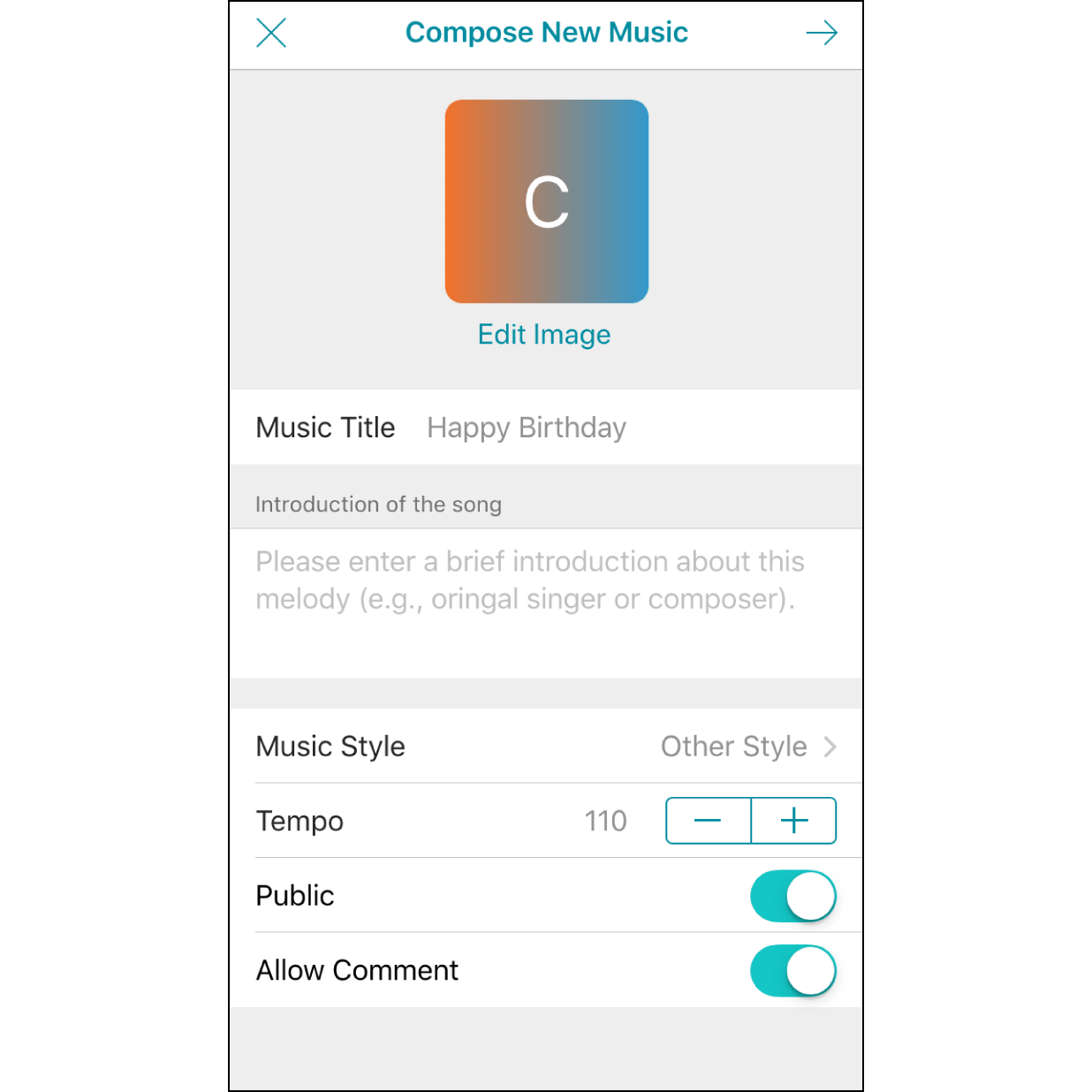 """Edit Melody InformationYou can edit a cover photo and enter music related information. Our default is to save your melody in private mode. Switching it to """"Public"""" allows you to share it with others."""