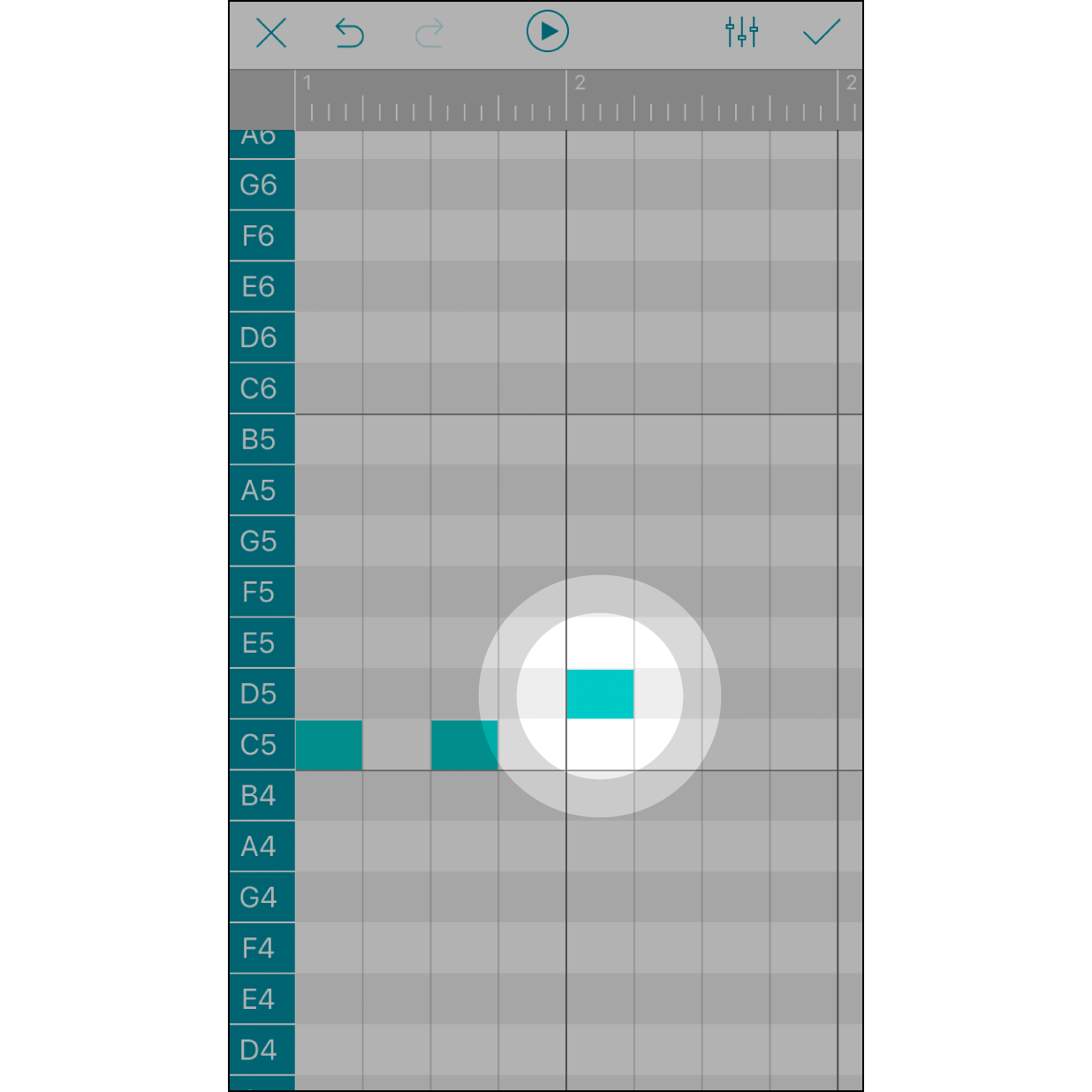 Touch to Add a NoteTouch any box to add a note. Remove this note by touching it again. Each box stands for a 1/16 note. The numbers in the grey bar stand for the beats.