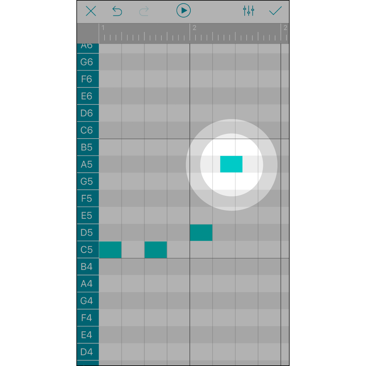 Long Press a Note to AdjustPress and hold a note can move its location forward or backward subtly. Each note in the box is allowed to move forward or backward (¼ or ½ outside the box). Each ¼ width of a box represents a 1/64 note.