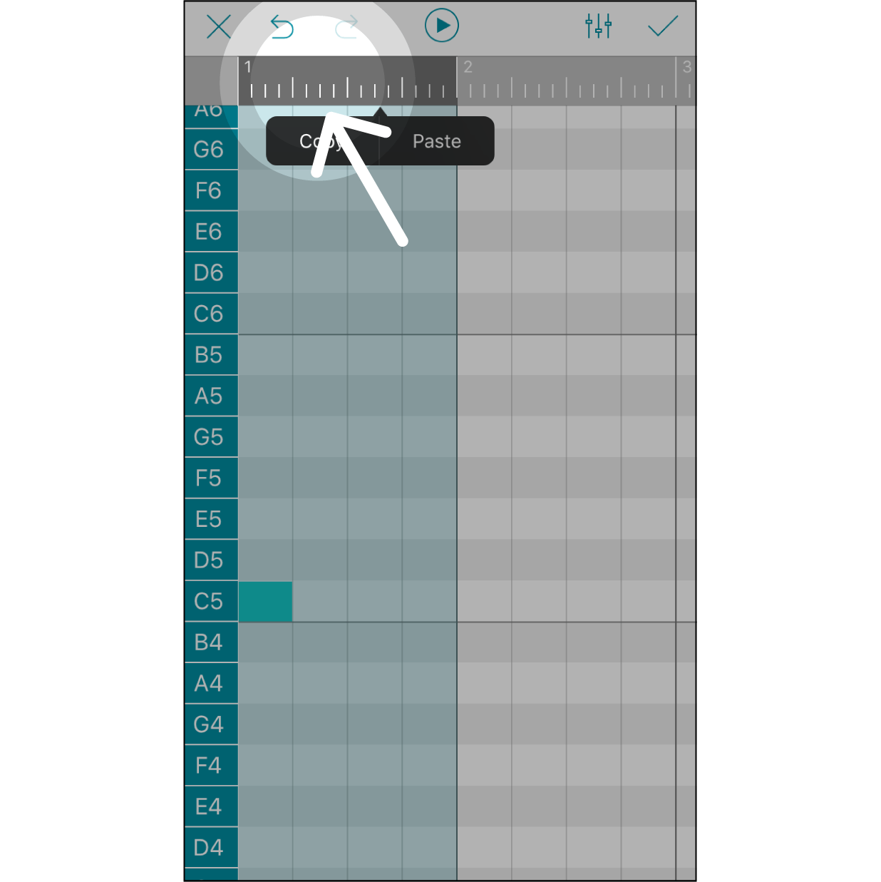 Select a SectionPress on the grey bar to select a section for editing. The first click will select a section of one beat. The numbers on this grey bar indicate which beat in the melody is being edited.