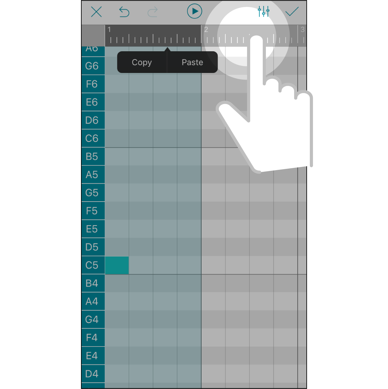 Expand SelectionPress another area on the timeline bar to expand the selected measure.