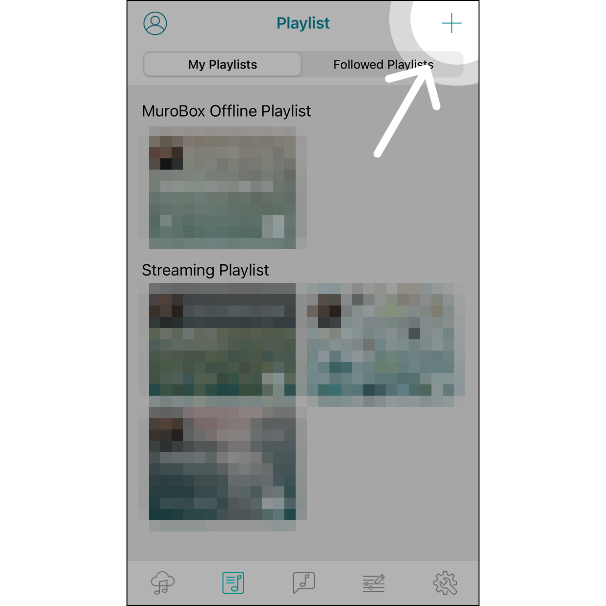 """1. Create PlaylistNavigate to """"Playlist"""" and hit """"+"""" on the upper right corner to create a playlist."""