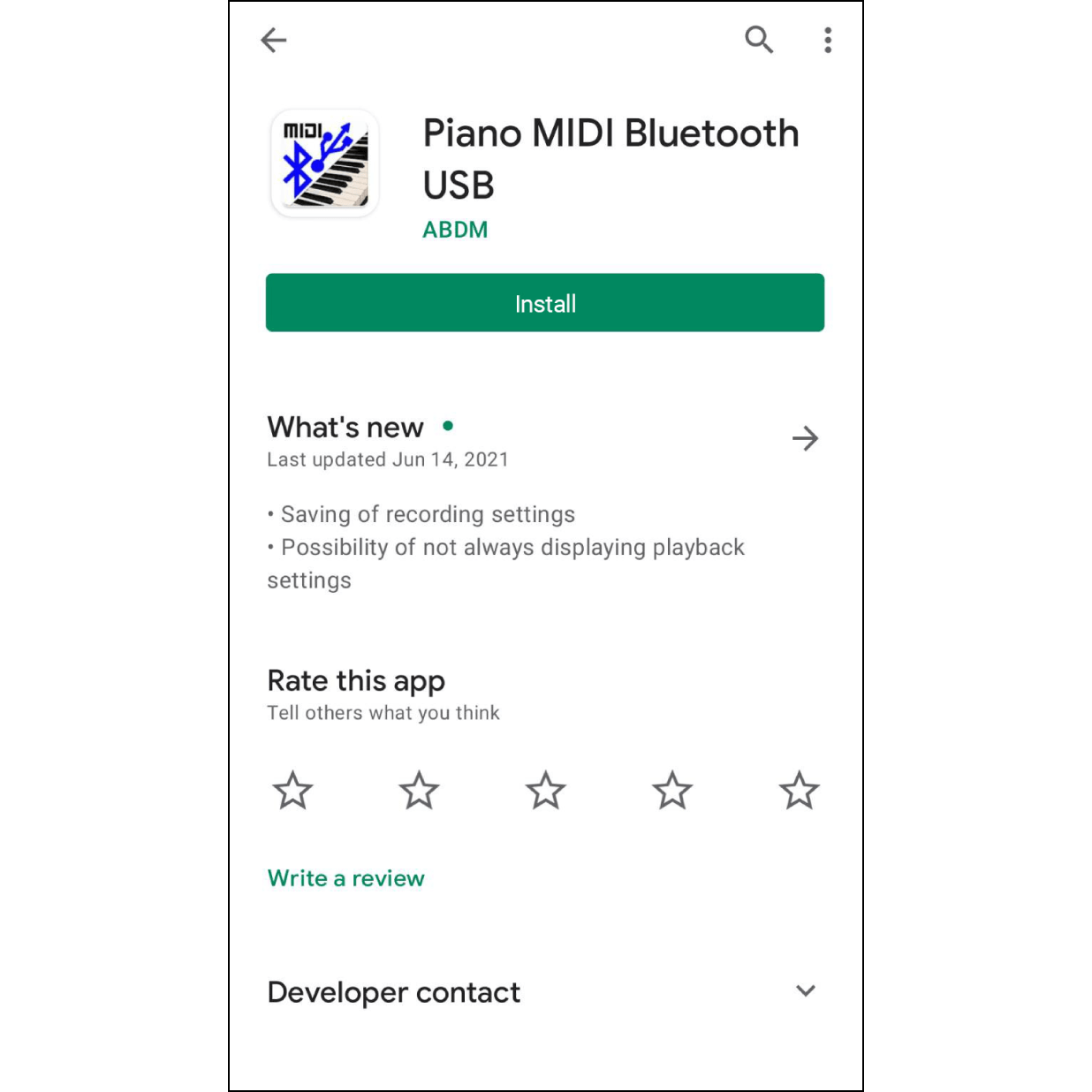 """1. Install the AppSearch """"Piano MIDI Bluetooth USB"""" in Google Play and install it on your phone."""