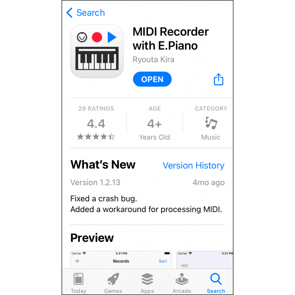 """1. Install the AppSearch """"MIDI Recorder with E. Piano"""" in App Store and install it on your phone."""