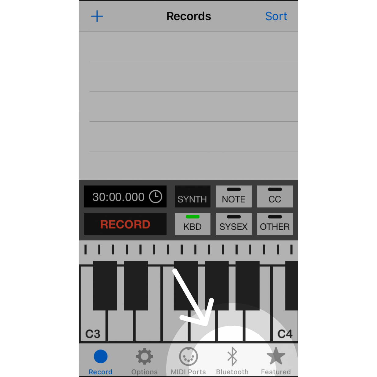 2. Open this AppOpen this app; click on the bluetooth MIDI icon.
