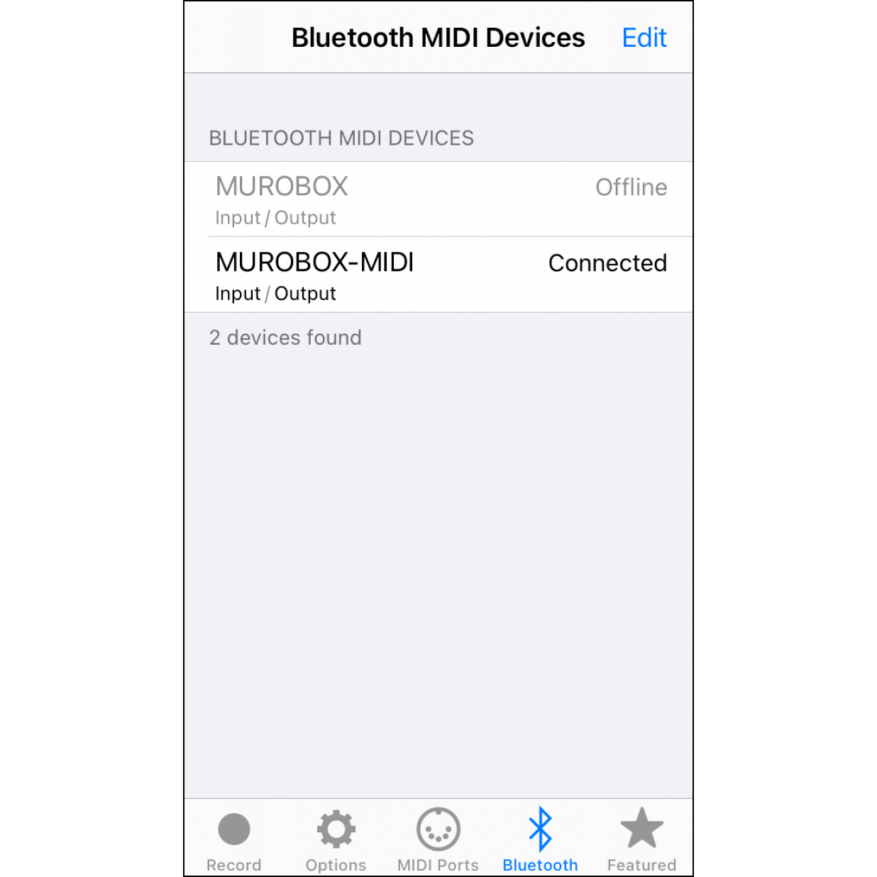 """3. Select the MIDI Device""""MUROBOX-MIDI"""" will show up in the list of options. Click this option for a few seconds, until its status shows as """"Connected""""."""