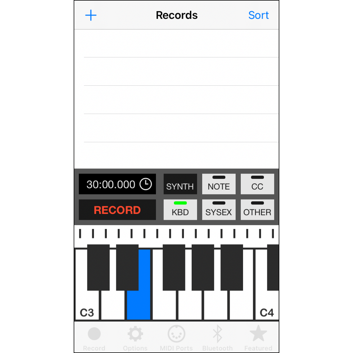 """4. Click on the """"Record"""" TabYou can use the keyboard shown in the  screen to play melodies, and your Muro Box will play the same notes in real time."""